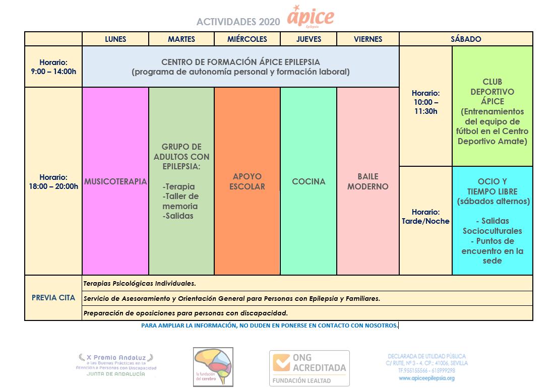 Actividades 2020 Mañana y tarde (por la mañana Centro de Formación y por la tarde talleres)
