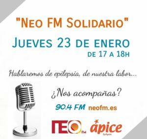 Cartel del anuncio programa NEO FM Solidario